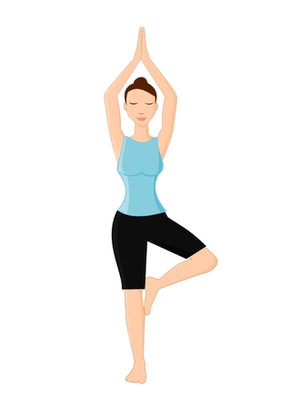 Young woman practicing yoga Illustration