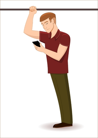 Man with cell phone standing in public transport Illustration