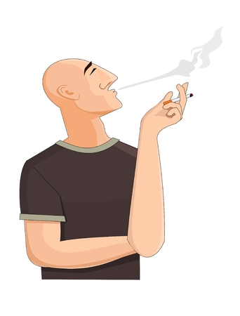addicted: Bald man exhaling the cigarette smoke