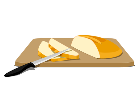 Slices of bread on cutting board Illustration