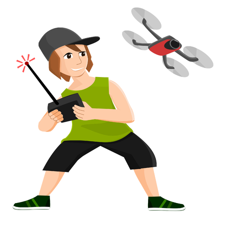 Boy plays with radio controlled drone