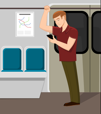 Man watching phone in metro train vector illustration.