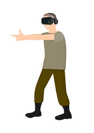 Man uses fingers to shoot in virtual reality Illustration