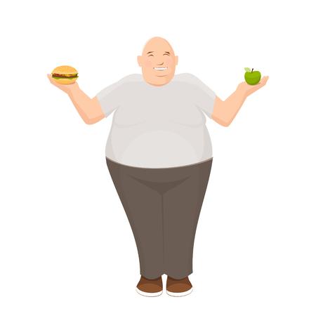 L'uomo grasso tiene mela e hamburger nelle sue mani Archivio Fotografico - 84640344