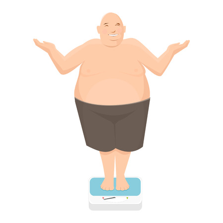 Fat man stands on bathroom scale Stock Illustratie