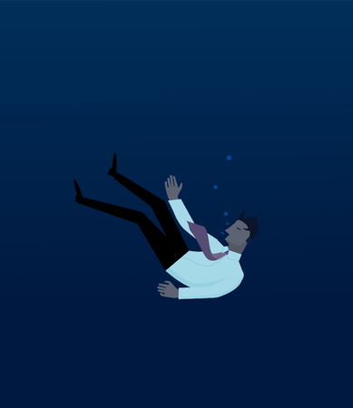 Businessman drowning in deep water Illustration