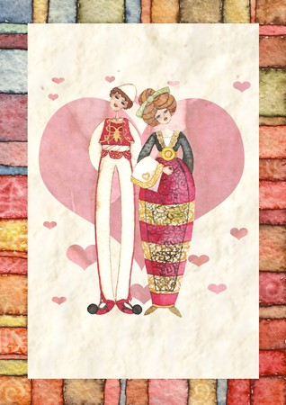 love illustration of two lovers dressed in traditional costumes illustration