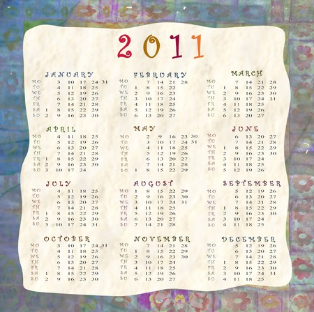 extremity: background with calendar 2011 Stock Photo