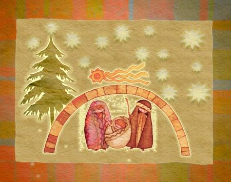 illustration for Christmas whit manger end star Stock Illustration - 8209090