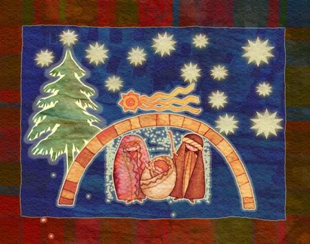 nascita di gesu: illustrazione per Natale whit mangiatoia fine stella cometa