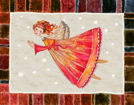 Christmas angel, greeting card illustration illustration