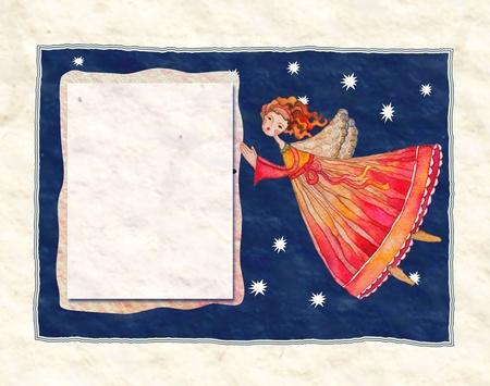 Christmas angel, greeting card illustration illustration
