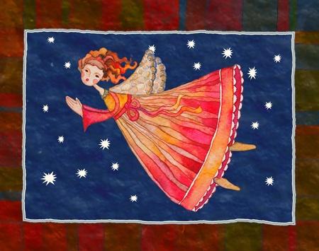 クリスマスの天使、グリーティング カード イラスト