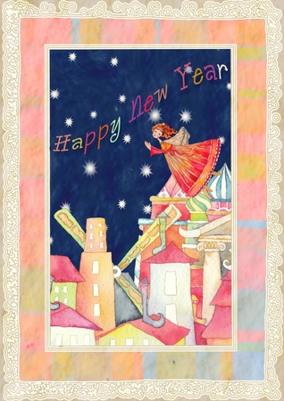 illustration of the happy new year with an angel and scenery illustration
