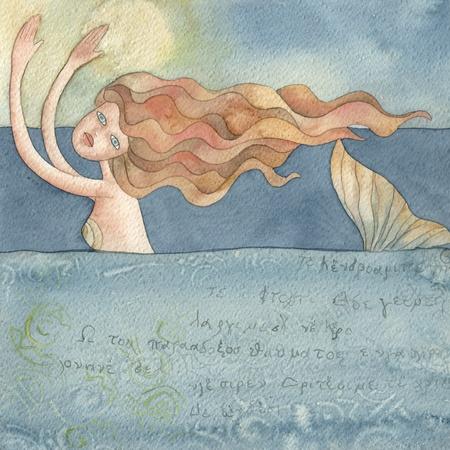 mermaid,  watercolors illustration illustration