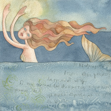 sirens: mermaid,  watercolors illustration Stock Photo