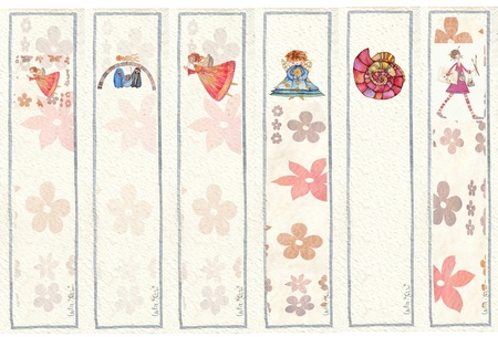 illustrated in watercolor bookmarks  photo