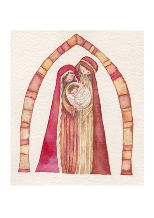 sacra famiglia: Natale Ges� Cristo, Giuseppe, Maria, acquerello