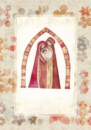 holy family: Natale Ges & ugrave, Cristo, Giuseppe, Maria, acquerello