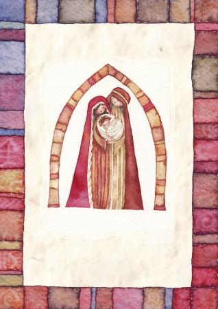 nascita di gesu: Natale Ges� Cristo, Giuseppe, Maria, acquerello