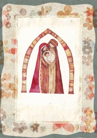 Natale Ges� Cristo, Giuseppe, Maria, acquerello photo
