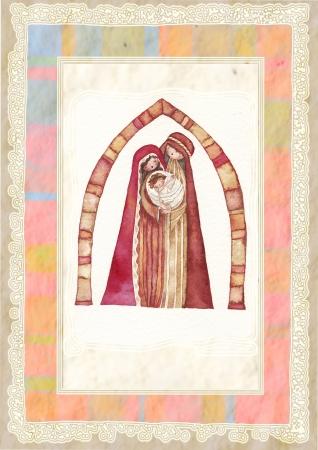 Natale Gesù Cristo, Giuseppe, Maria, acquerello photo