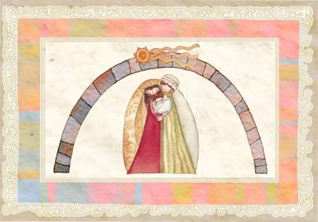 christmas watercolor: Christmas  Jesus Christ , Joseph, Mary,watercolor Stock Photo