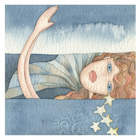 adult mermaid: illustration of a mermaid in the sea, watercolor Stock Photo