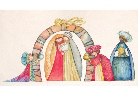 three month: Christmas Nativity scene  Jesus, Mary, Joseph and the Three Kings   Stock Photo
