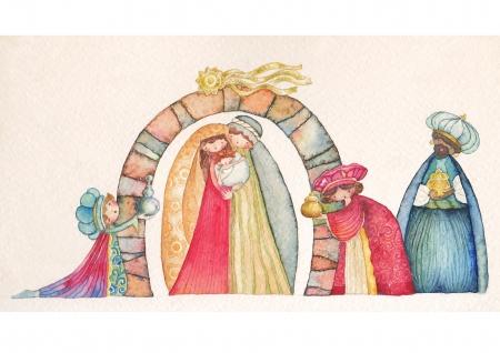 three men: Christmas Nativity scene  Jesus, Mary, Joseph and the Three Kings   Stock Photo