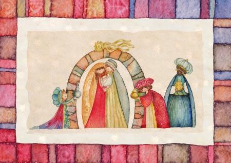 jesus mary joseph: Christmas Nativity scene  Jesus, Mary, Joseph and the Three Kings   Stock Photo