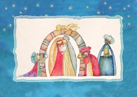 Christmas Nativity scene  Jesus, Mary, Joseph and the Three Kings   photo