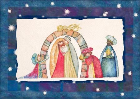 jesus paintings: Christmas Nativity scene  Jesus, Mary, Joseph and the Three Kings   Stock Photo