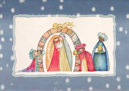 myrrh: Christmas Nativity scene  Jesus, Mary, Joseph and the Three Kings   Stock Photo