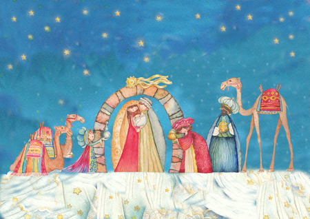 birth of christ: Illustration Christian Christmas Nativity scene with the three wise men
