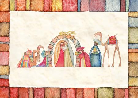 nascita di gesu: Illustrazione cristiana Natale presepe con i tre saggi