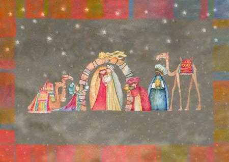 christmas church: Illustration Christian Christmas Nativity scene with the three wise men