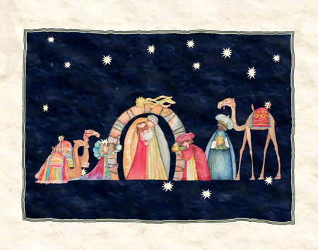 pesebre: Ilustraci�n escena de Christian Natividad de Navidad con los tres sabios Foto de archivo