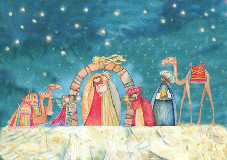 baby jesus: Illustration Christian Christmas Nativity scene with the three wise men