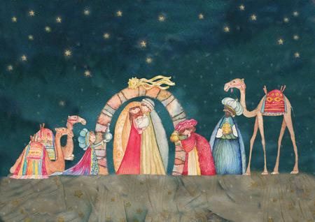 familia en la iglesia: Ilustración escena de Christian Natividad de Navidad con los tres sabios Foto de archivo