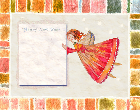 spouses: Happy new year angel greeting card Illustration with space for text Stock Photo