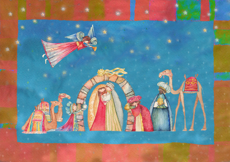 jesus paintings: Christmas Nativity scenes. Jesus, Mary, Joseph and the Three Wise Men and Angels with trumpet, Stock Photo