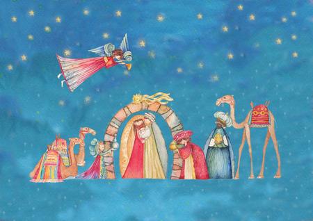 familia cristiana: Belenes de Navidad. Jesús, María, José y los Reyes Magos y los ángeles con trompeta,