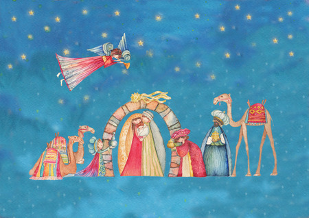 Crèches de Noël. Jésus, Marie, Joseph et les sages et les anges avec la trompette Trois, Banque d'images - 49859502