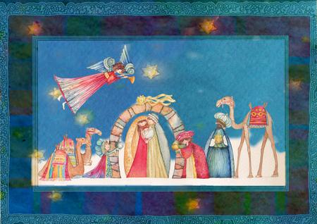 jesus birth: Belenes de Navidad. Jesús, María, José y los Reyes Magos y los ángeles con trompeta,