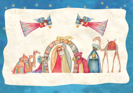 wise men: Christmas Nativity scenes. Jesus, Mary, Joseph and the Three Wise Men and Angels with trumpet, Stock Photo