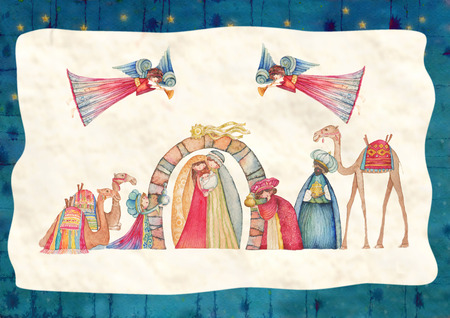 joseph: Christmas Nativity scenes. Jesus, Mary, Joseph and the Three Wise Men and Angels with trumpet, Stock Photo