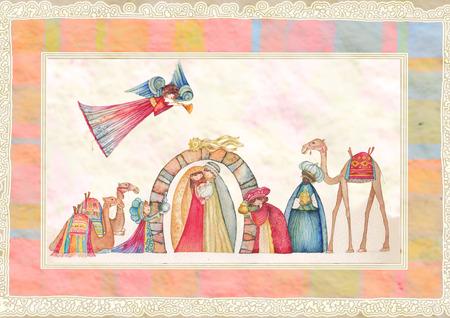 pesebre: Belenes de Navidad. Jesús, María, José y los Reyes Magos y los ángeles con trompeta,