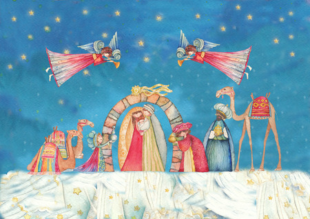 three wise men: Christmas Nativity scenes. Jesus, Mary, Joseph and the Three Wise Men and Angels with trumpet, Stock Photo