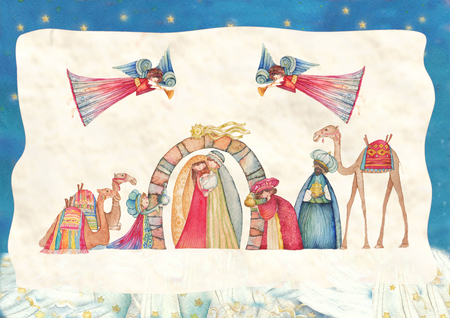 christmas church: Christmas Nativity scenes. Jesus, Mary, Joseph and the Three Wise Men and Angels with trumpet, Stock Photo